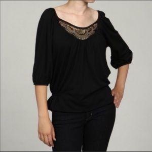 Cocomo Black sequin yoke boho top Size Medium